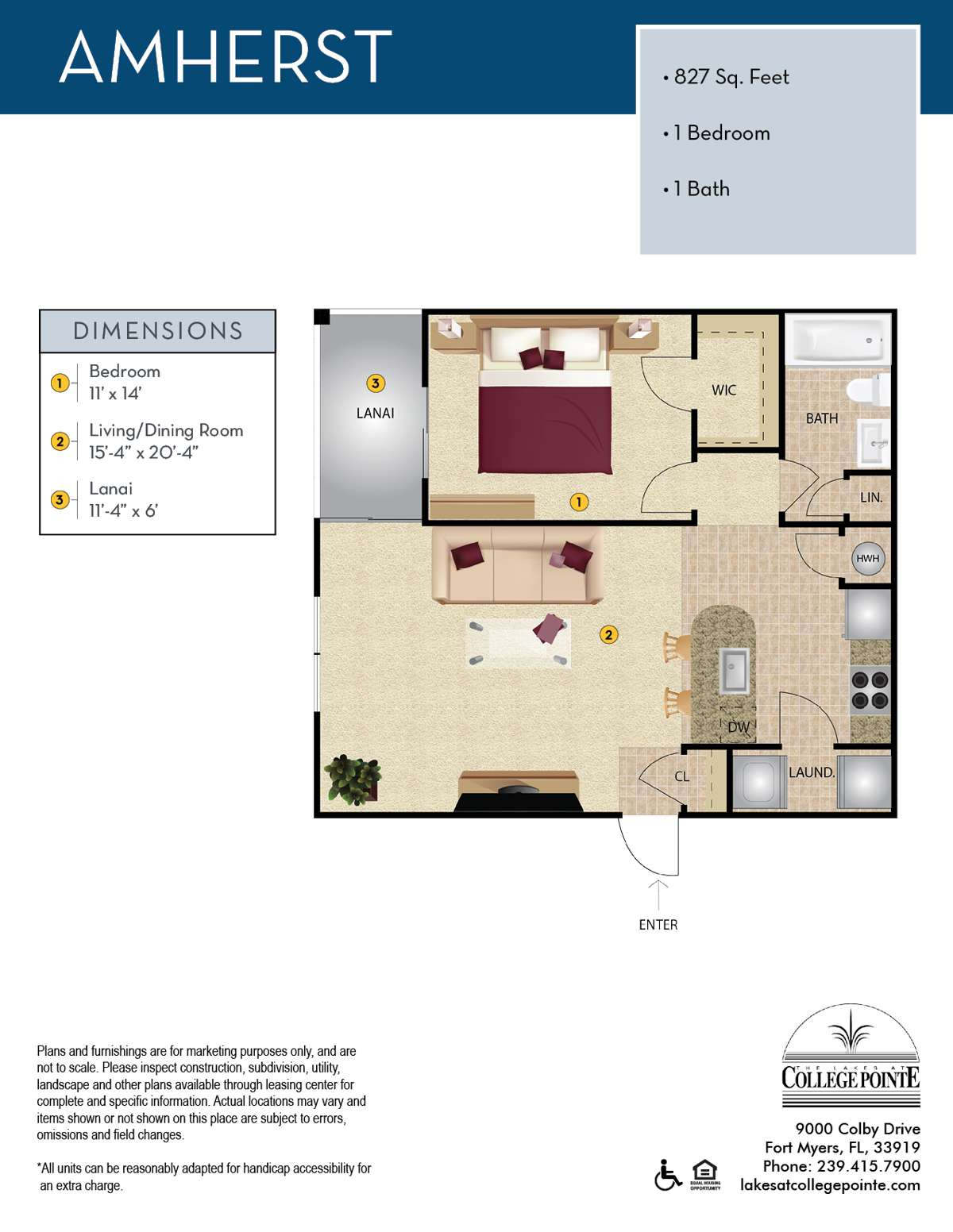 The Lakes At College Pointe Apartment Floor Plan C-1